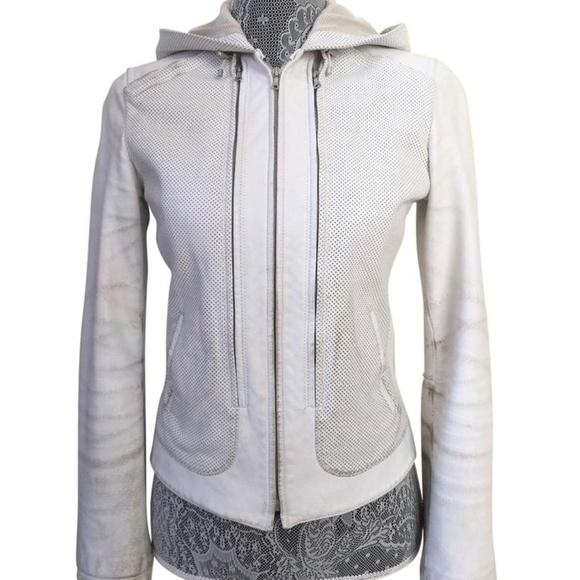 Elie Tahari Jackets & Blazers - Aged White Perforated Leather Jacket sz XS